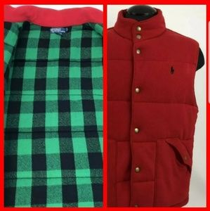 Mens Large Polo Red Puffer Green Buffalo Plaid